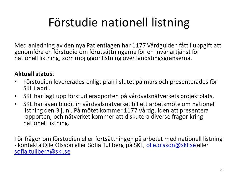 Förstudie nationell listning Med anledning av den nya Patientlagen har 1177 Vårdguiden fått i uppgift att genomföra en förstudie om förutsättningarna