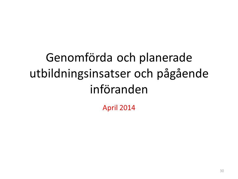 Genomförda och planerade utbildningsinsatser och pågående införanden April 2014 30
