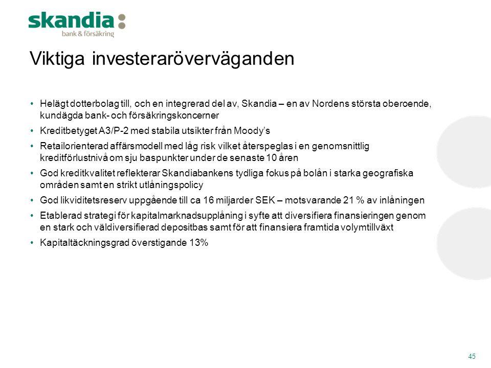 45 Viktiga investeraröverväganden •Helägt dotterbolag till, och en integrerad del av, Skandia – en av Nordens största oberoende, kundägda bank- och fö