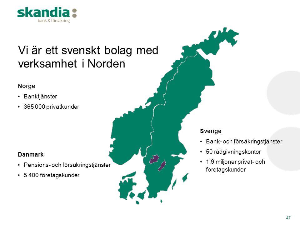 Vi är ett svenskt bolag med verksamhet i Norden Norge •Banktjänster •365 000 privatkunder Danmark •Pensions- och försäkringstjänster •5 400 företagsku