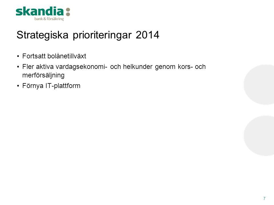 Strategiska prioriteringar 2014 7 •Fortsatt bolånetillväxt •Fler aktiva vardagsekonomi- och helkunder genom kors- och merförsäljning •Förnya IT-plattf