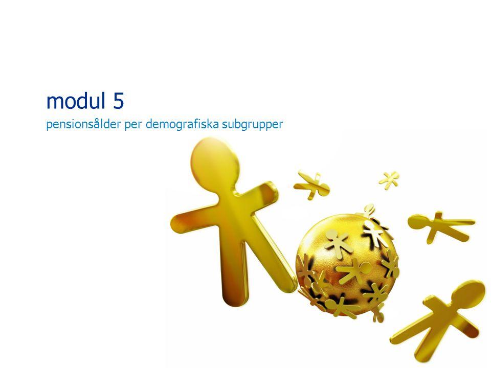 modul 5 pensionsålder per demografiska subgrupper