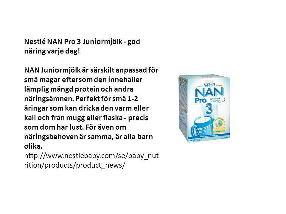 Nestlé NAN Pro 3 Juniormjölk - god näring varje dag! NAN Juniormjölk är särskilt anpassad för små magar eftersom den innehåller lämplig mängd protein