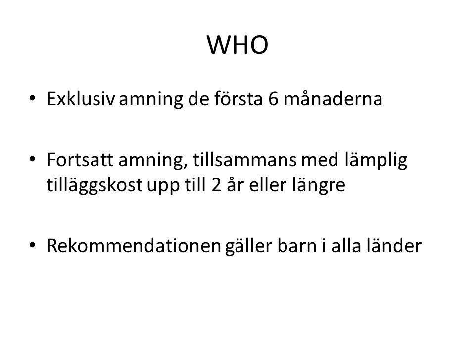Diskussion i Sverige om amning • Hur länge exklusivt • Hur länge totalt • Amningssiffrorna går ned – orsaker.