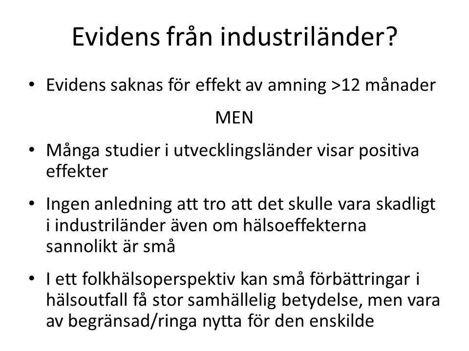 Evidens från industriländer? • Evidens saknas för effekt av amning >12 månader MEN • Många studier i utvecklingsländer visar positiva effekter • Ingen