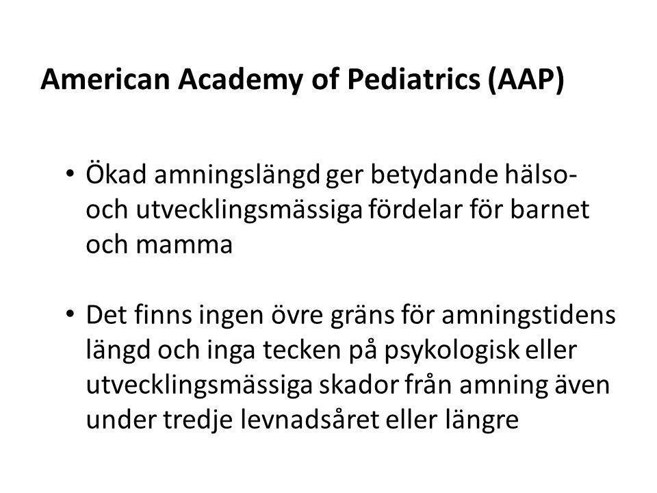 • Ökad amningslängd ger betydande hälso- och utvecklingsmässiga fördelar för barnet och mamma • Det finns ingen övre gräns för amningstidens längd och