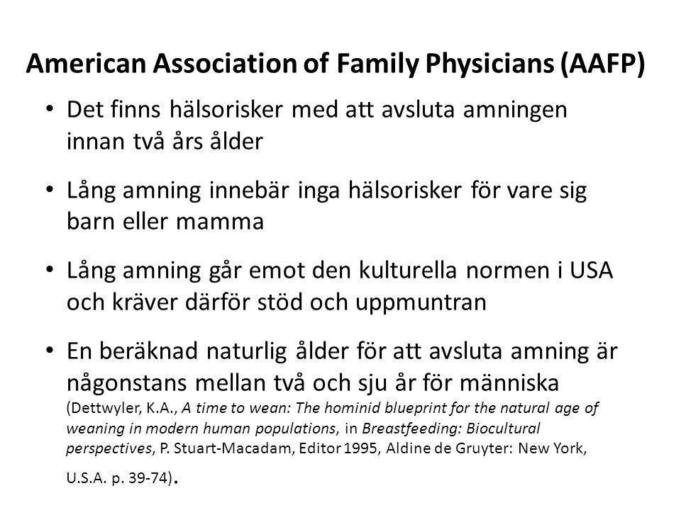 • Det finns hälsorisker med att avsluta amningen innan två års ålder • Lång amning innebär inga hälsorisker för vare sig barn eller mamma • Lång amnin