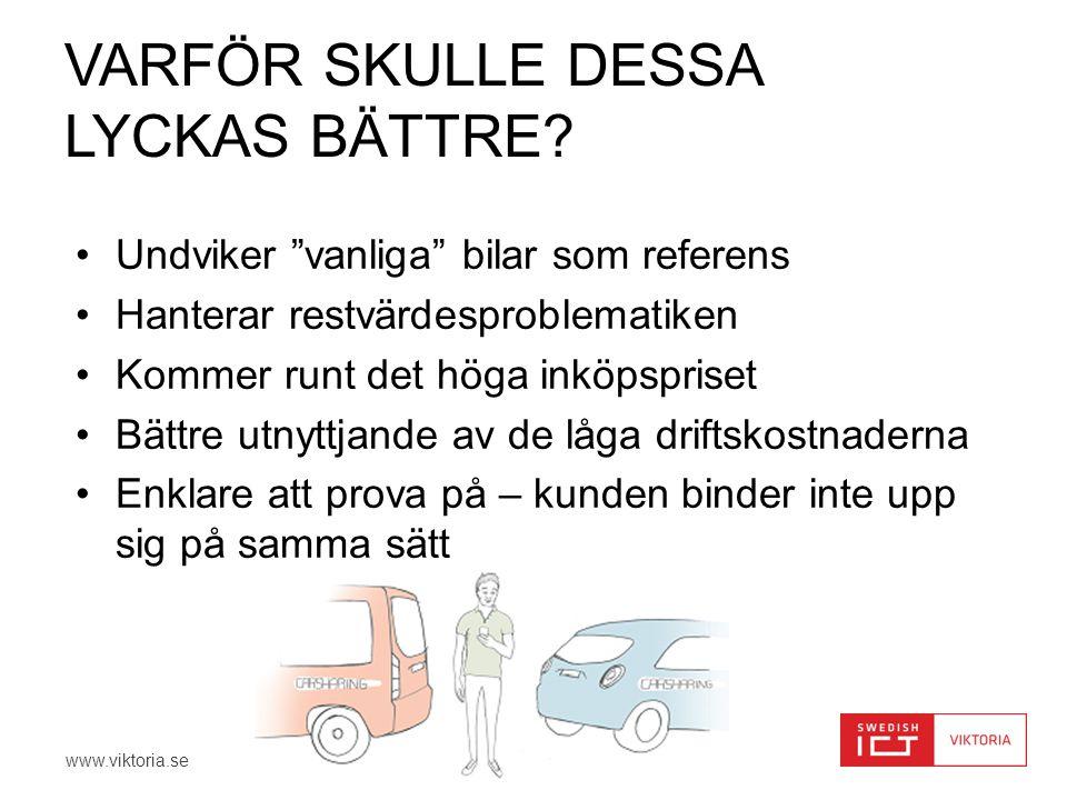 """www.viktoria.se VARFÖR SKULLE DESSA LYCKAS BÄTTRE? •Undviker """"vanliga"""" bilar som referens •Hanterar restvärdesproblematiken •Kommer runt det höga inkö"""