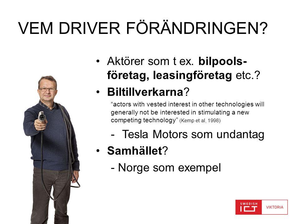 """www.viktoria.se VEM DRIVER FÖRÄNDRINGEN? •Aktörer som t ex. bilpools- företag, leasingföretag etc.? •Biltillverkarna? """"actors with vested interest in"""
