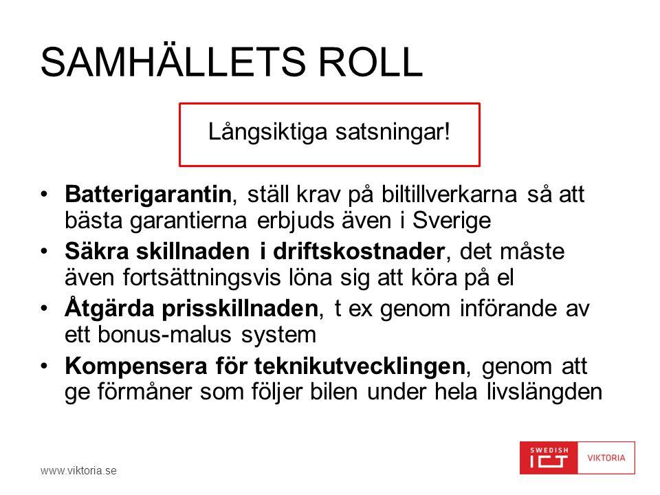 www.viktoria.se SAMHÄLLETS ROLL Långsiktiga satsningar! •Batterigarantin, ställ krav på biltillverkarna så att bästa garantierna erbjuds även i Sverig