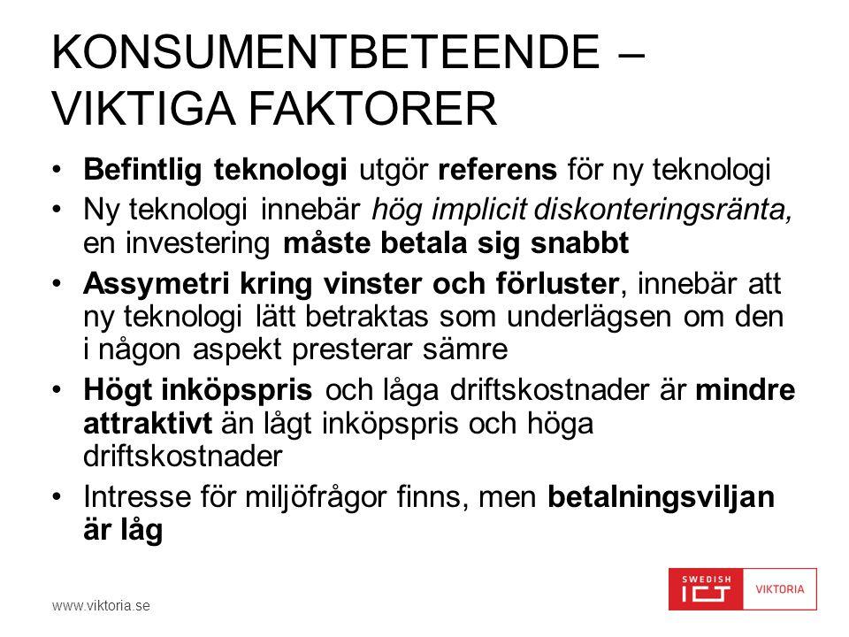 www.viktoria.se KONSUMENTBETEENDE – VIKTIGA FAKTORER •Befintlig teknologi utgör referens för ny teknologi •Ny teknologi innebär hög implicit diskonter
