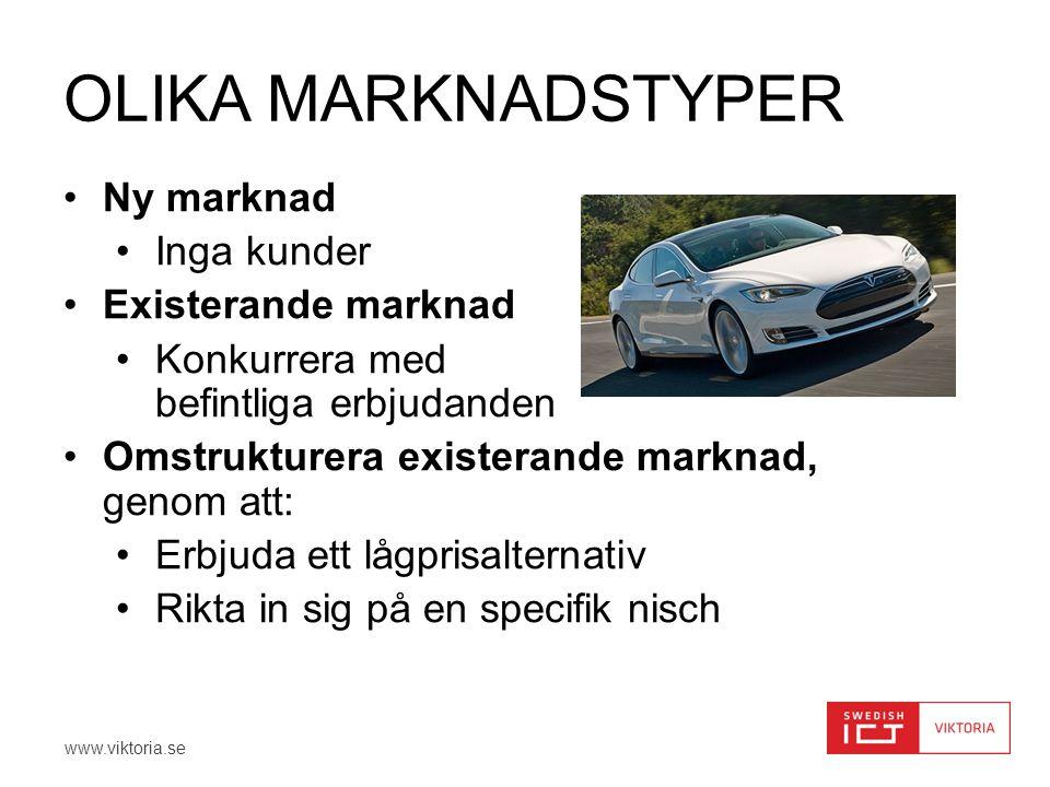 www.viktoria.se OLIKA MARKNADSTYPER •Ny marknad •Inga kunder •Existerande marknad •Konkurrera med befintliga erbjudanden •Omstrukturera existerande marknad, genom att: •Erbjuda ett lågprisalternativ •Rikta in sig på en specifik nisch