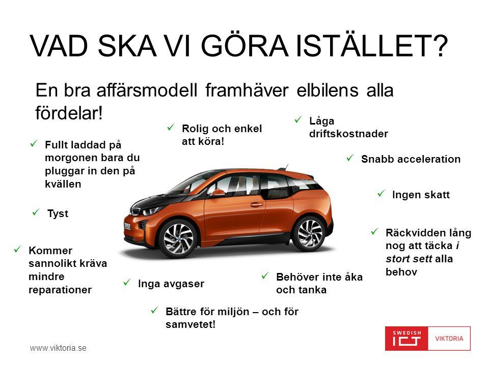 www.viktoria.se VAD SKA VI GÖRA ISTÄLLET.En bra affärsmodell framhäver elbilens alla fördelar.