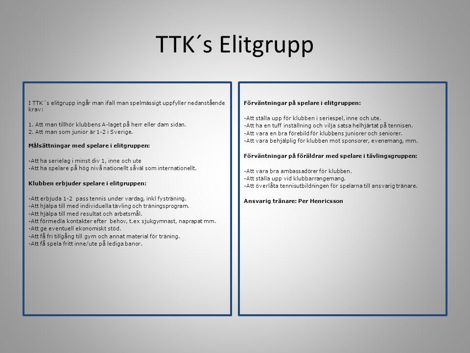 TTK´s Tävlingsgrupp Från 13 år och äldre Kriterier/kärnpunkter för uttagning: -Attityd/inställning -Inlärningsförmåga/Mognad -Resultat/Potential -Samarbetsförmåga Uttagningar till tävlingsgrupp görs normalt inför varje höst termin.