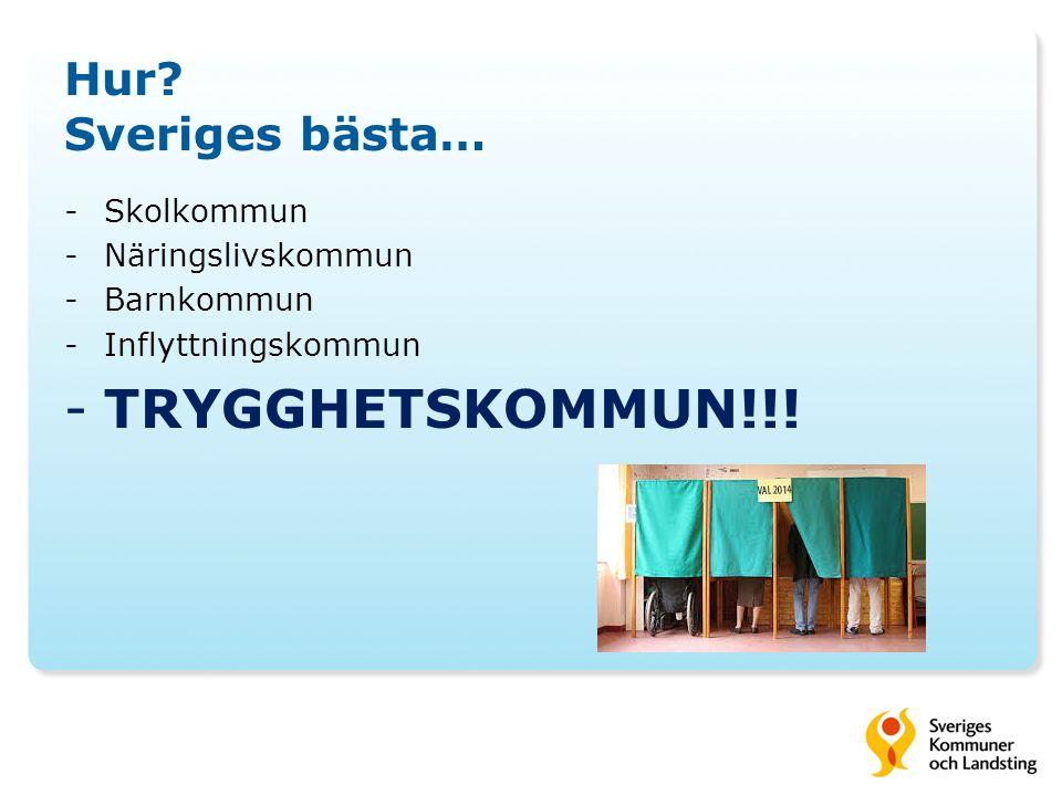 Hur? Sveriges bästa… -Skolkommun -Näringslivskommun -Barnkommun -Inflyttningskommun -TRYGGHETSKOMMUN!!!