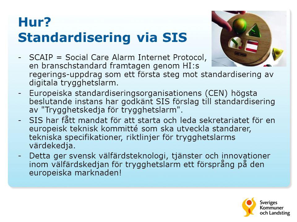 Hur? Standardisering via SIS -SCAIP = Social Care Alarm Internet Protocol, en branschstandard framtagen genom HI:s regerings-uppdrag som ett första st