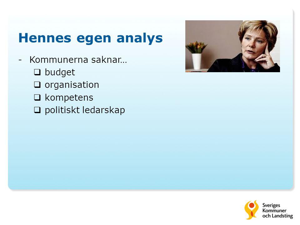 Hennes egen analys -Kommunerna saknar…  budget  organisation  kompetens  politiskt ledarskap