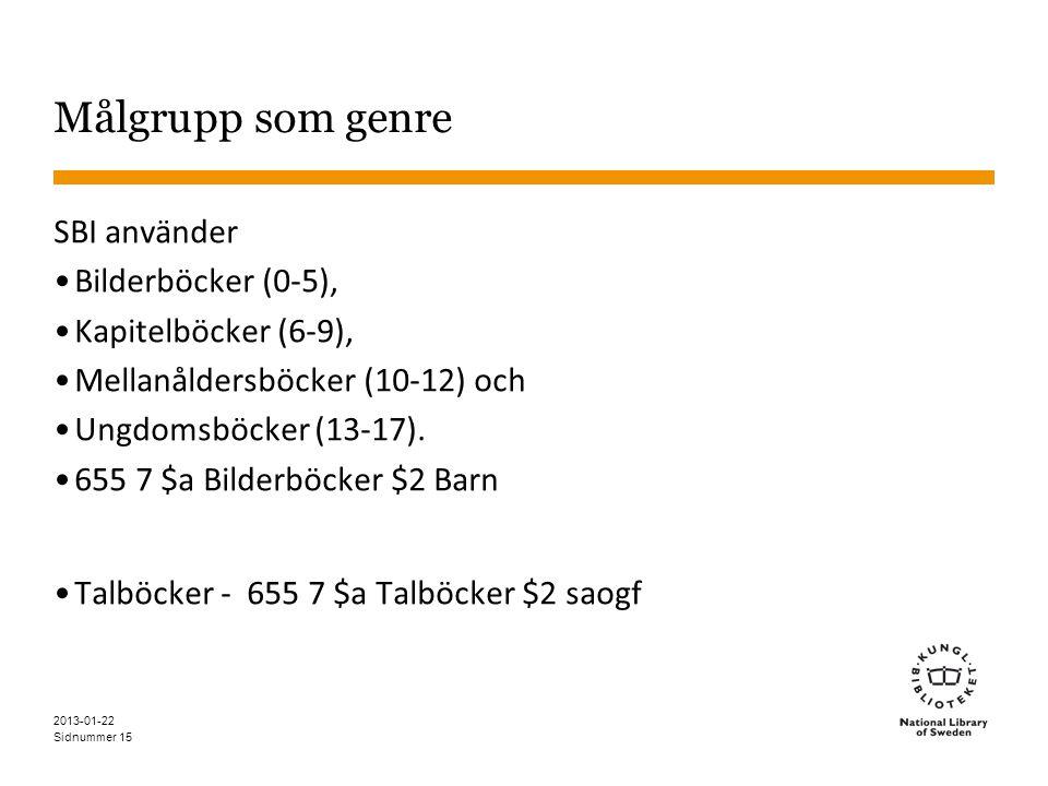Sidnummer Målgrupp som genre SBI använder •Bilderböcker (0-5), •Kapitelböcker (6-9), •Mellanåldersböcker (10-12) och •Ungdomsböcker (13-17). •655 7 $a