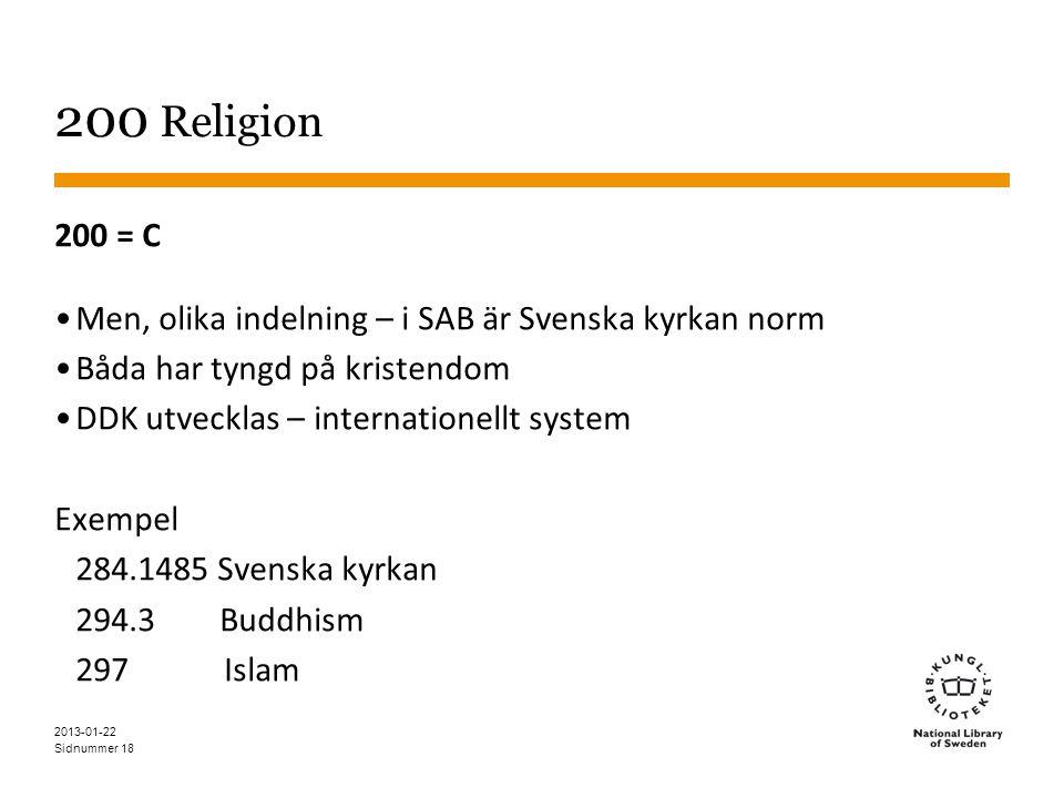 Sidnummer 18 200 Religion 200 = C •Men, olika indelning – i SAB är Svenska kyrkan norm •Båda har tyngd på kristendom •DDK utvecklas – internationellt system Exempel 284.1485 Svenska kyrkan 294.3 Buddhism 297 Islam 2013-01-22