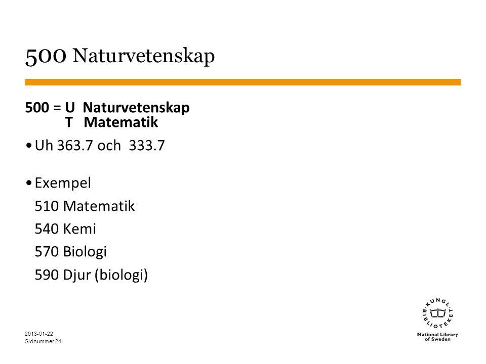 Sidnummer 24 500 Naturvetenskap 500 = U Naturvetenskap T Matematik •Uh 363.7 och 333.7 •Exempel 510 Matematik 540 Kemi 570 Biologi 590 Djur (biologi) 2013-01-22