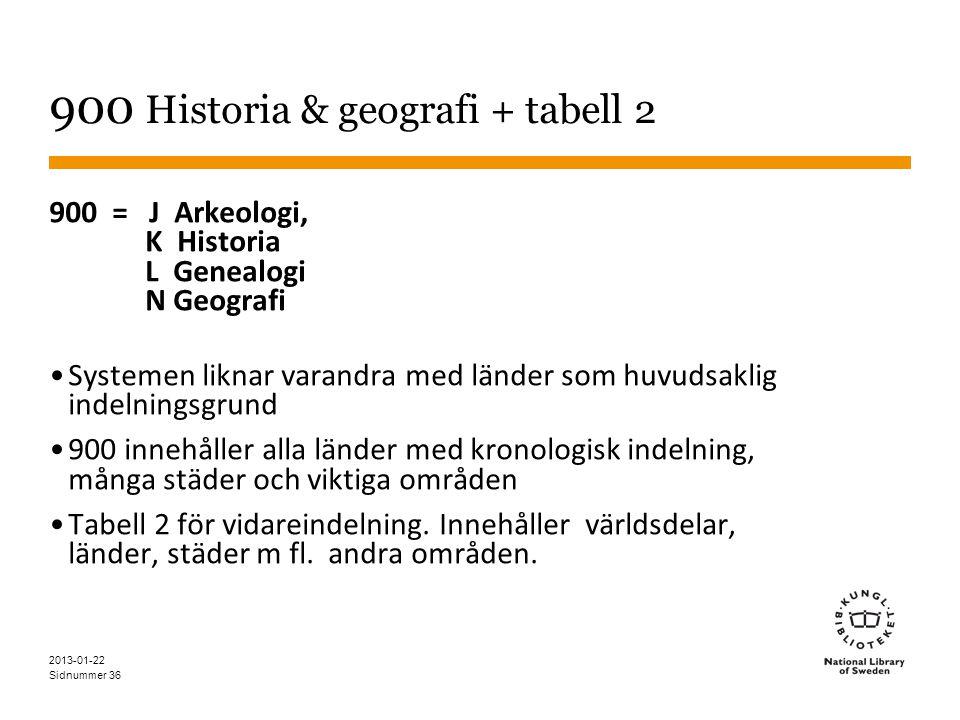 Sidnummer 36 900 Historia & geografi + tabell 2 900 = J Arkeologi, K Historia L Genealogi N Geografi •Systemen liknar varandra med länder som huvudsaklig indelningsgrund •900 innehåller alla länder med kronologisk indelning, många städer och viktiga områden •Tabell 2 för vidareindelning.