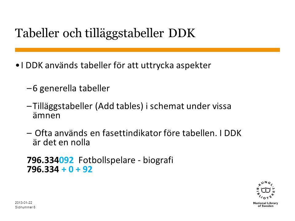 Sidnummer 6 Tabeller och tilläggstabeller DDK •I DDK används tabeller för att uttrycka aspekter –6 generella tabeller –Tilläggstabeller (Add tables) i