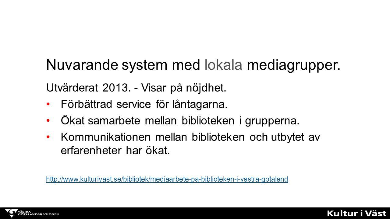 Nybildad: Kultur i Västs interna Mediagrupp Operativ arbetsgrupp under Biblioteksgruppen Deltagare: Elisabeth Erikson, Ingvor Jansson, Örjan Hellström, Kerstin Wockatz, Ninni Eriksson.
