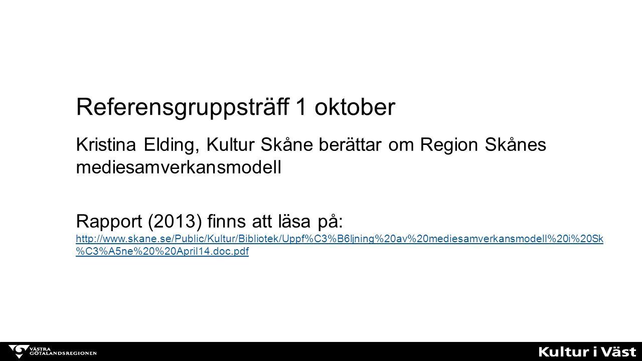 Kristina Elding, Kultur Skåne berättar om Region Skånes mediesamverkansmodell Rapport (2013) finns att läsa på: http://www.skane.se/Public/Kultur/Bibl