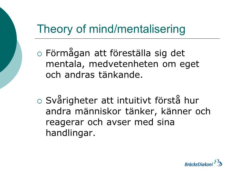 Theory of mind/mentalisering  Förmågan att föreställa sig det mentala, medvetenheten om eget och andras tänkande.