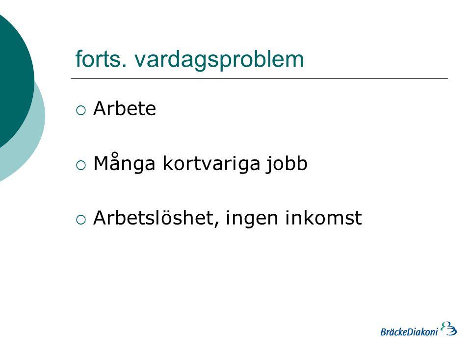 forts. vardagsproblem  Arbete  Många kortvariga jobb  Arbetslöshet, ingen inkomst
