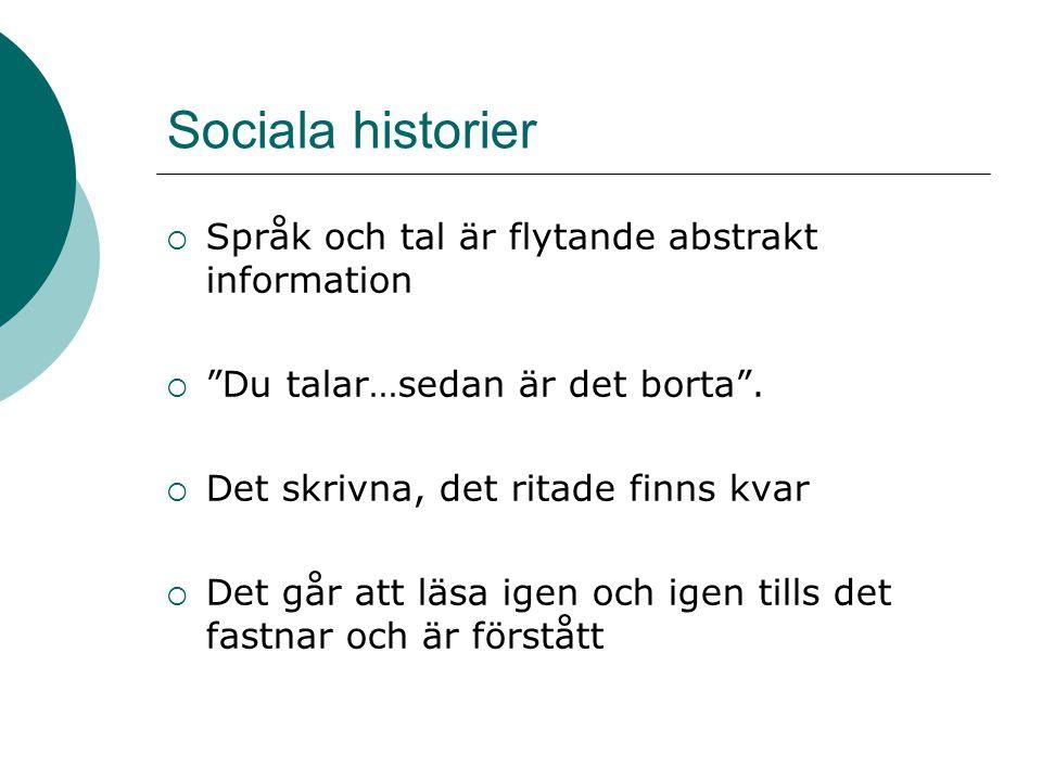 Sociala historier  Språk och tal är flytande abstrakt information  Du talar…sedan är det borta .