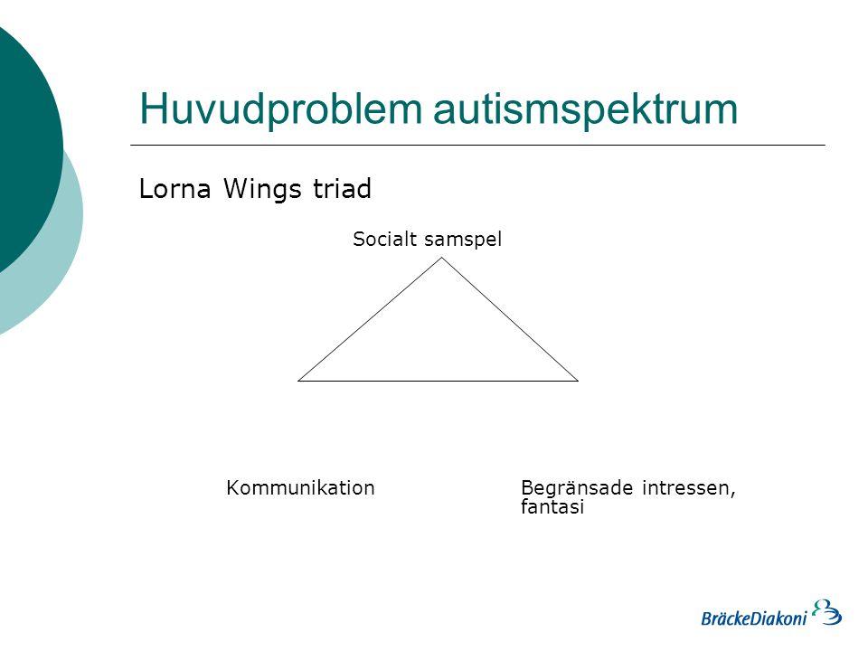 Huvudproblem autismspektrum Lorna Wings triad Socialt samspel Kommunikation Begränsade intressen, fantasi