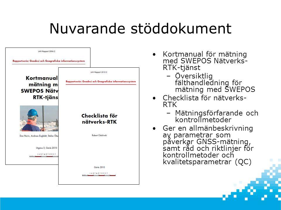 Nuvarande stöddokument •Kortmanual för mätning med SWEPOS Nätverks- RTK-tjänst –Översiktlig fälthandledning för mätning med SWEPOS •Checklista för nätverks- RTK –Mätningsförfarande och kontrollmetoder •Ger en allmänbeskrivning av parametrar som påverkar GNSS-mätning, samt råd och riktlinjer för kontrollmetoder och kvalitetsparametrar (QC)