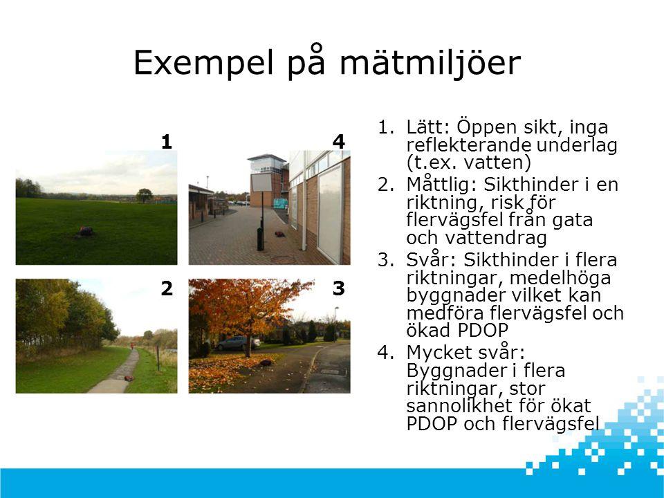 Exempel på mätmiljöer 1 23 4 1.Lätt: Öppen sikt, inga reflekterande underlag (t.ex.