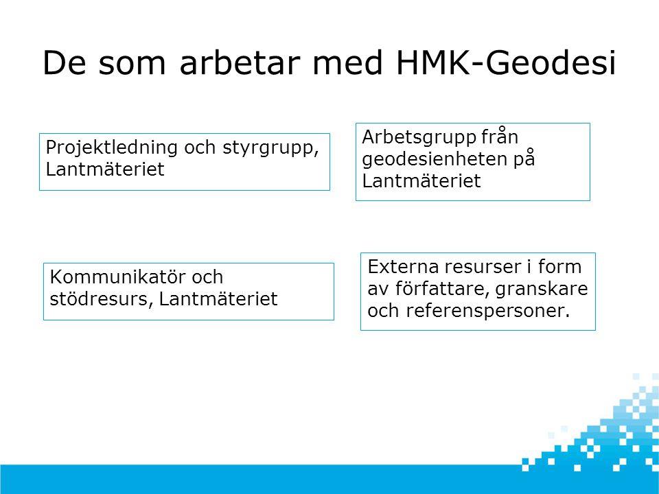 Bakgrund HMK  HMK – Handbok till Mätningskungörelsen – gavs ut 1993-1995  Teknikbeskrivningar samt stöd för kvalitetskontroll och upphandling av mättjänster 9 delar HMK-Geodesi, Stommätning HMK-Geodesi, Detaljmätning HMK-Geodesi, Markering HMK-Geodesi, GPS HMK-Fotogrammetri HMK-Digitalisering HMK-Databaser HMK-Kartografi HMK-Juridik • Teknikutveckling m.m.