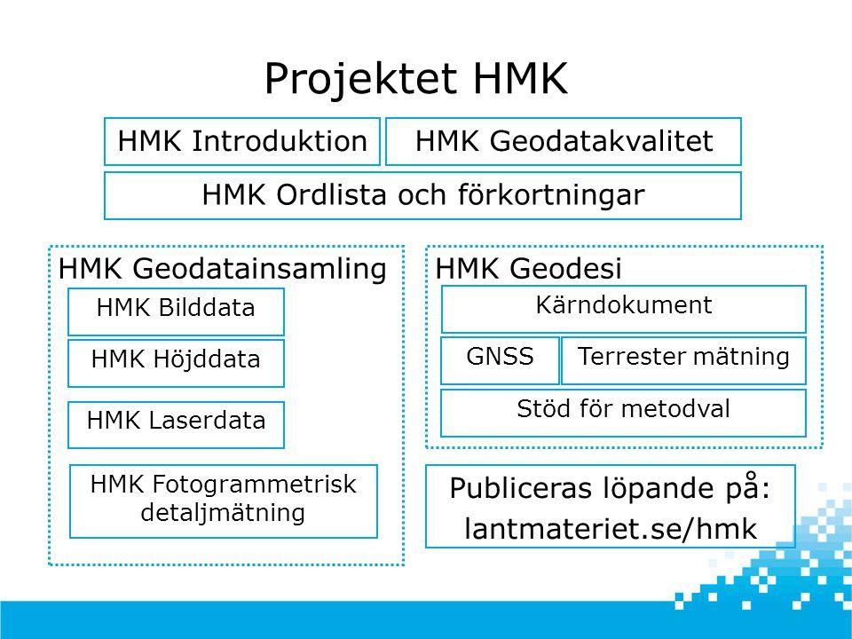 Projektet HMK HMK Introduktion HMK Ordlista och förkortningar HMK GeodatainsamlingHMK Geodesi HMK Bilddata Kärndokument GNSSTerrester mätning Stöd för metodval HMK Höjddata HMK Laserdata HMK Fotogrammetrisk detaljmätning HMK Geodatakvalitet Publiceras löpande på: lantmateriet.se/hmk