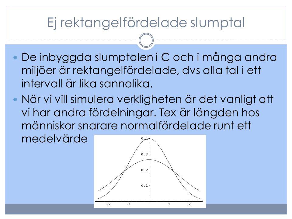 Ej rektangelfördelade slumptal  De inbyggda slumptalen i C och i många andra miljöer är rektangelfördelade, dvs alla tal i ett intervall är lika sann