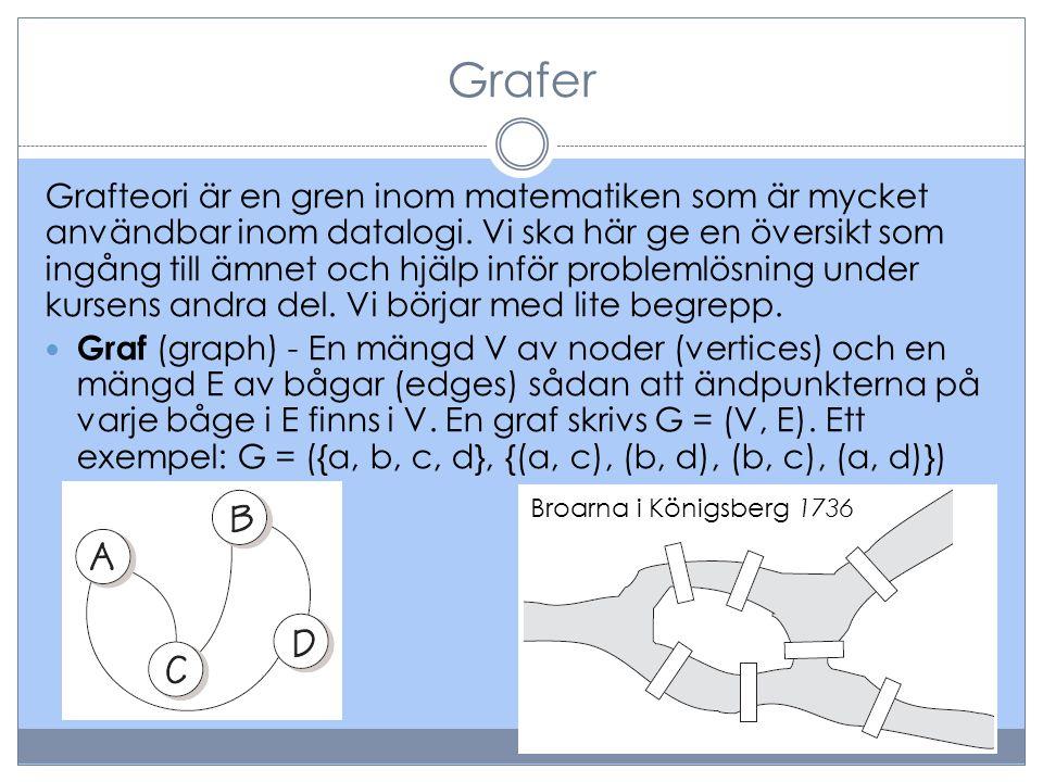 Grafer Grafteori är en gren inom matematiken som är mycket användbar inom datalogi. Vi ska här ge en översikt som ingång till ämnet och hjälp inför pr
