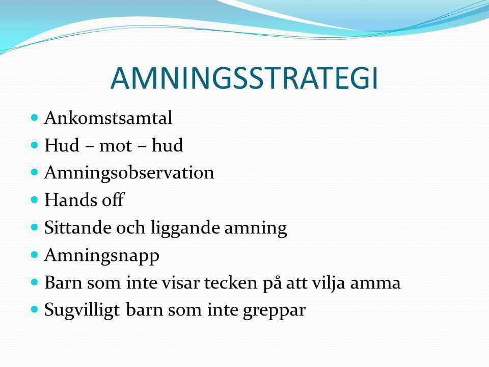  Barn som vill amma hela tiden  Såriga vårtor  Opererade bröst  Vid hemgång  Checklista amning  SOSFS 2008:33  WHO:s amningsråd