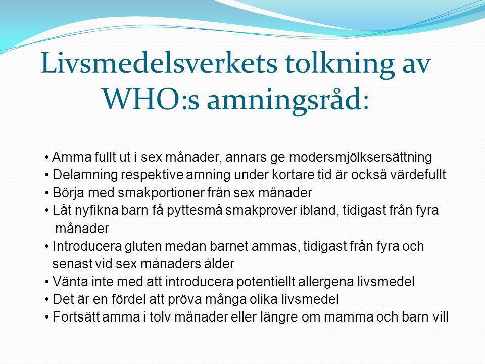 Livsmedelsverkets tolkning av WHO:s amningsråd: • Amma fullt ut i sex månader, annars ge modersmjölksersättning • Delamning respektive amning under ko