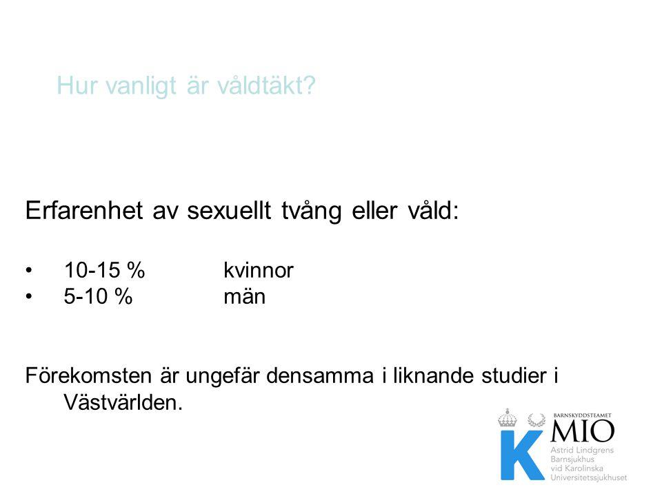 Hur vanligt är våldtäkt? Erfarenhet av sexuellt tvång eller våld: •10-15 % kvinnor •5-10 % män Förekomsten är ungefär densamma i liknande studier i Vä
