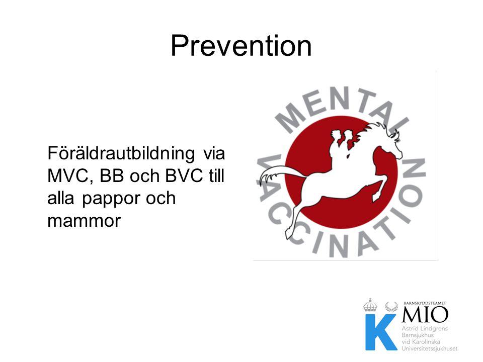 Prevention Föräldrautbildning via MVC, BB och BVC till alla pappor och mammor