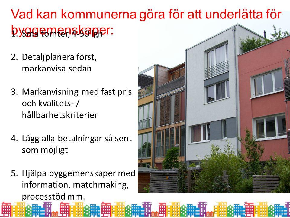 Vad kan kommunerna göra för att underlätta för byggemenskaper: 1.Små tomter, 4-50 lgh 2.Detaljplanera först, markanvisa sedan 3.Markanvisning med fast