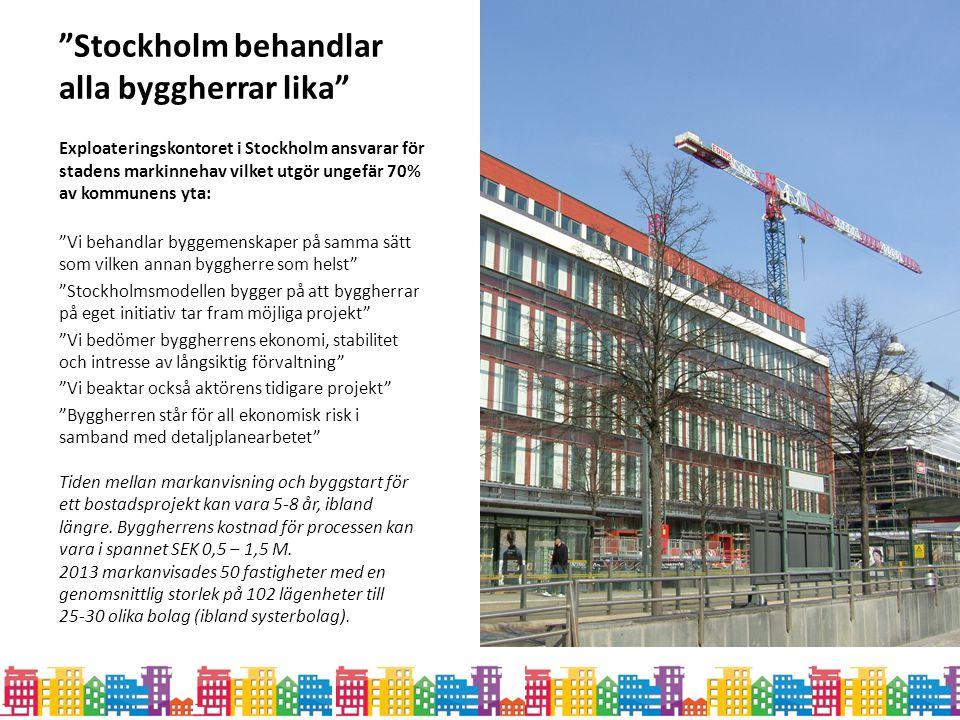 """""""Stockholm behandlar alla byggherrar lika"""" Exploateringskontoret i Stockholm ansvarar för stadens markinnehav vilket utgör ungefär 70% av kommunens yt"""