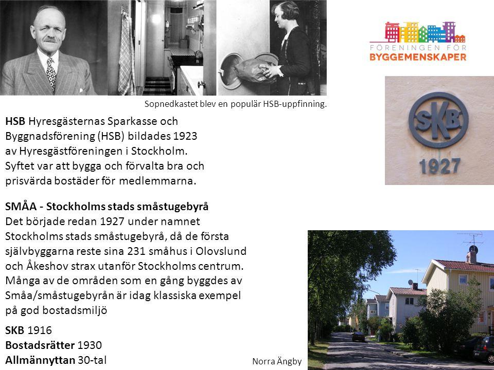 HSB Hyresgästernas Sparkasse och Byggnadsförening (HSB) bildades 1923 av Hyresgästföreningen i Stockholm. Syftet var att bygga och förvalta bra och pr