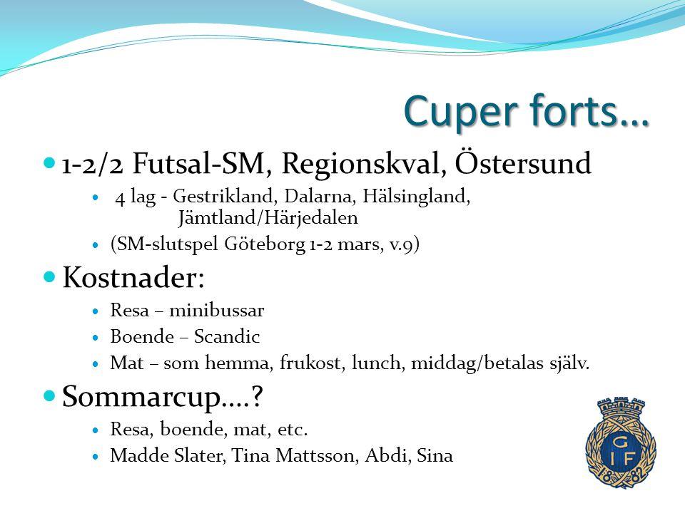 Cuper forts…  1-2/2 Futsal-SM, Regionskval, Östersund  4 lag - Gestrikland, Dalarna, Hälsingland, Jämtland/Härjedalen  (SM-slutspel Göteborg 1-2 ma