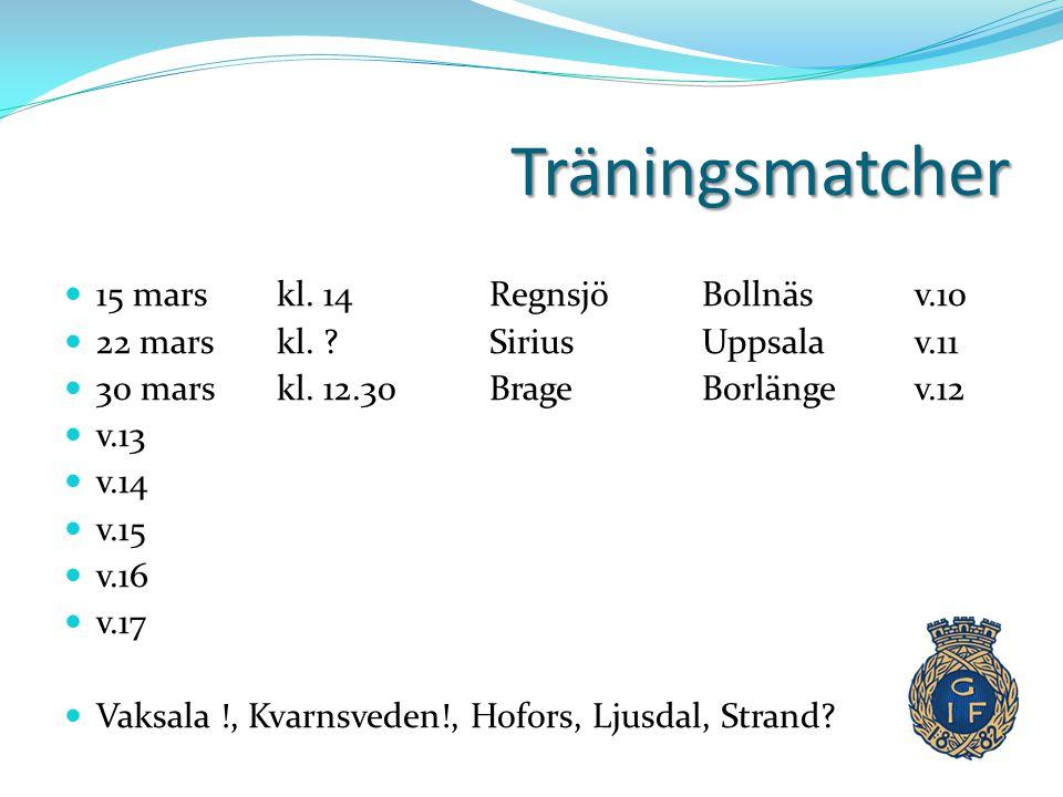 Träningsmatcher  15 mars kl. 14 RegnsjöBollnäsv.10  22 mars kl. ?SiriusUppsalav.11  30 mars kl. 12.30BrageBorlängev.12  v.13  v.14  v.15  v.16