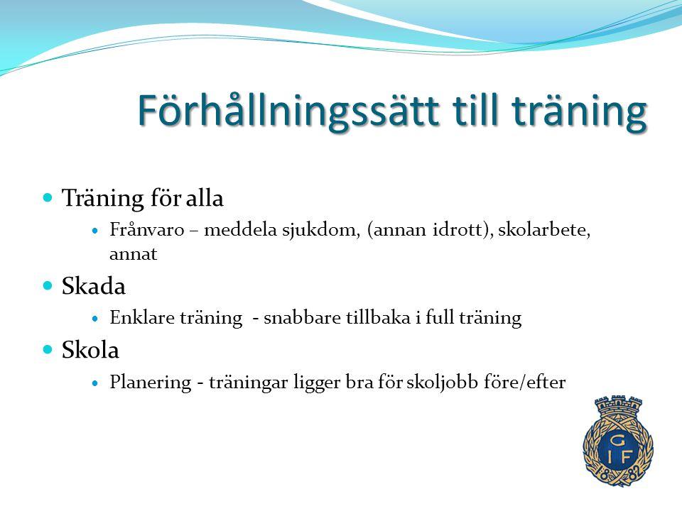Förhållningssätt till träning  Träning för alla  Frånvaro – meddela sjukdom, (annan idrott), skolarbete, annat  Skada  Enklare träning - snabbare
