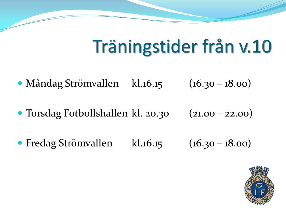 Träningstider från v.10  Måndag Strömvallen kl.16.15 (16.30 – 18.00)  Torsdag Fotbollshallen kl. 20.30 (21.00 – 22.00)  Fredag Strömvallen kl.16.15