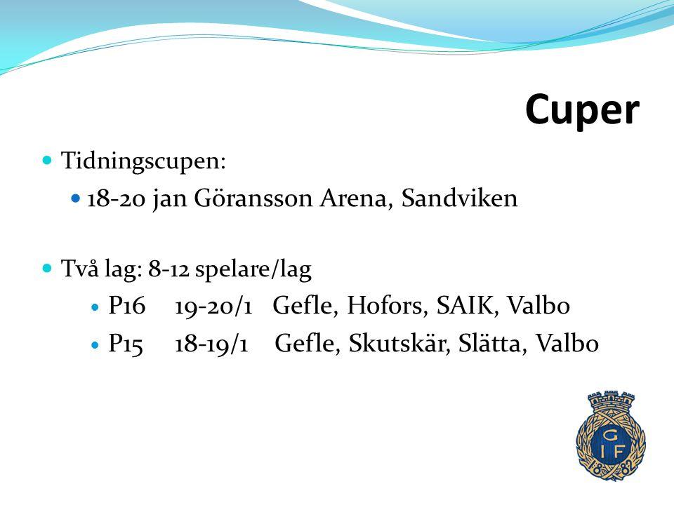 Cuper  Tidningscupen:  18-20 jan Göransson Arena, Sandviken  Två lag: 8-12 spelare/lag  P16 19-20/1 Gefle, Hofors, SAIK, Valbo  P1518-19/1 Gefle,